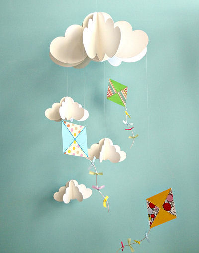 Kites and Clouds Mobile found on Etsy